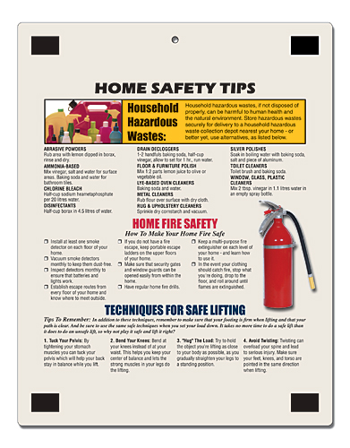 Magnetic refrigerator reminder boards for House fire safety tips