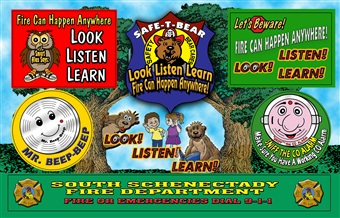 Fire Safety Sticker Sheet - LOOK LISTEN LEARN - Full Color Custom Imprint