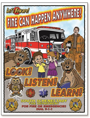 """Let's Beware! Fire Can Happen Anywhere LOOK LISTEN LEARN"" Coloring Book"