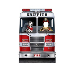 "Fire Engine with Dalmatian 45"" X 66"""""
