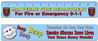 "Smoke Alarms Save Lives...Test Yours Every Month! Full Color Laminated 12"" Ruler"