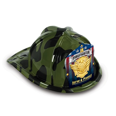 Plastic Fire Helmet / Hat - Green Camo Design - Stock