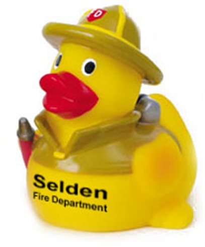 Rubber Firefighter Duck With Yellow Hat