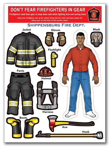 Dont Fear Firefighters in Gear Sticker Sheet - African American Male