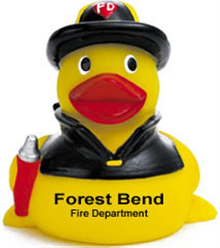 Rubber Firefighter Duck With Black Hat
