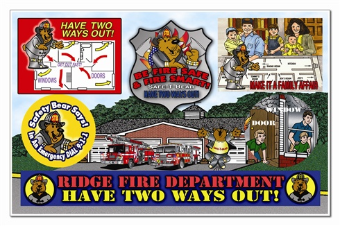 Fire Safety Sticker Sheet - Safe t Bear's Have Two Ways Out! - Full Color Custom Imprint