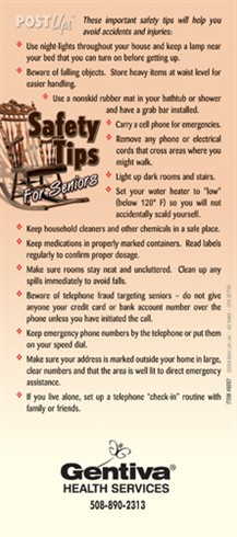 Safety Tips for Seniors Hang-Up Cards