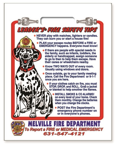 Fire Safety Plastic Bag - Leader's Fire Safety Tips - Custom Full Color Imprint