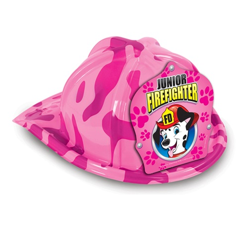 Plastic Fire Helmet / Hat - Pink Camo Design - Stock