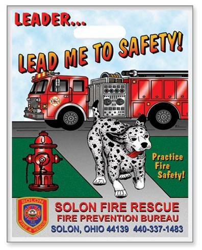 Fire Safety Plastic Bag - Leader Lead Me To Safety! - Custom Full Color Imprint