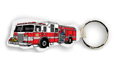 Soft Vinyl Key Tags - Fire Engine- Full Color