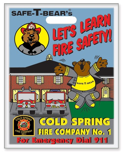 Fire Safety Plastic Bag - Safe-T-Bear's Lets Learn Fire Safety! - Custom Full Color Imprint