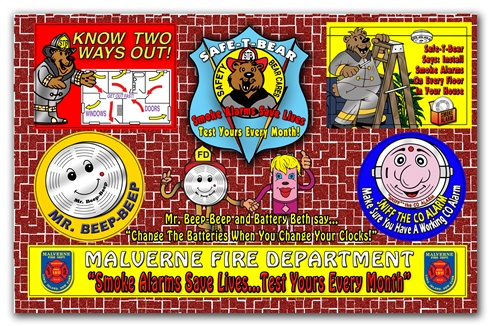 Fire Safety Sticker Sheet - Smoke Alarms Save Lives...Test Yours Every Month!! - Full Color - Custom