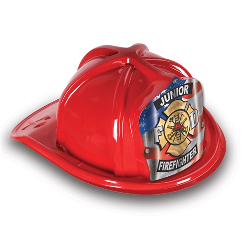 Plastic Fire Helmet / Hat - Metallic Shield Design - Stock