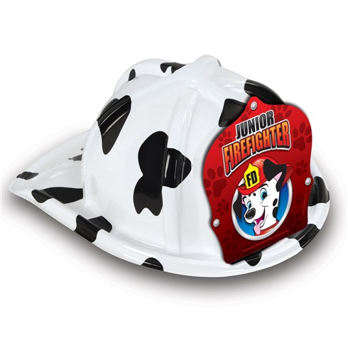 Plastic Fire Helmet / Hat - Dalmation Design - Stock