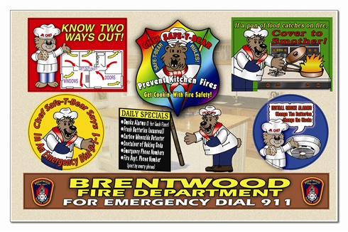 Prevent Kitchen Fires... Get Cookin' With Fire Safety! Sticker Sheet - Full Color Custom Imprint